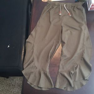 Girls Forest Green Flowy Pants